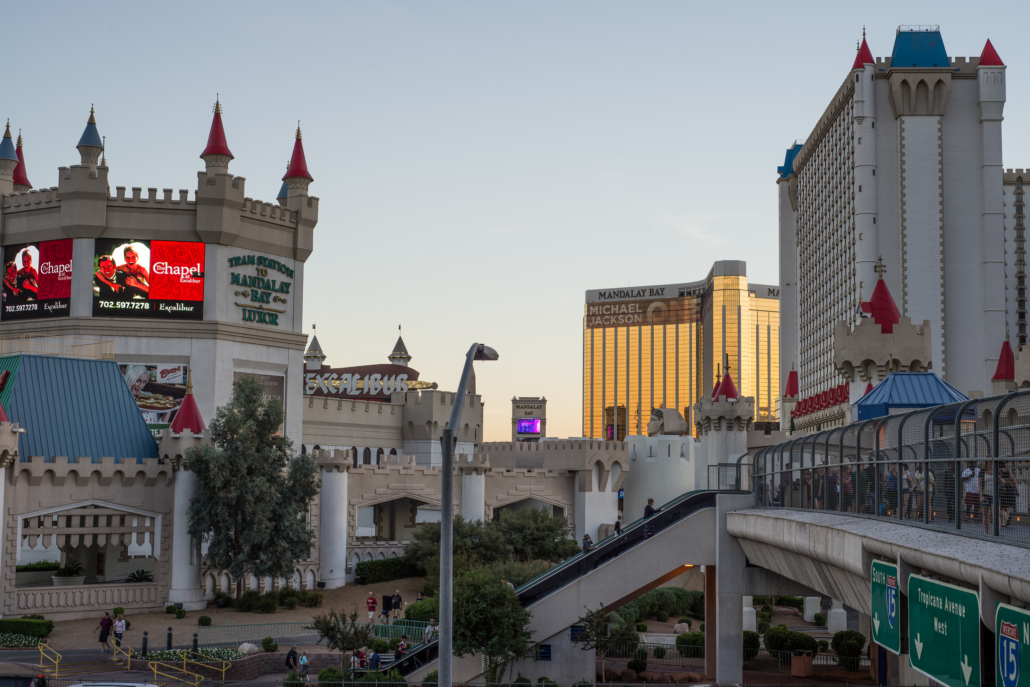 The Medieval setting of Excalibur contrasted with the gold colours of Mandalay Bay