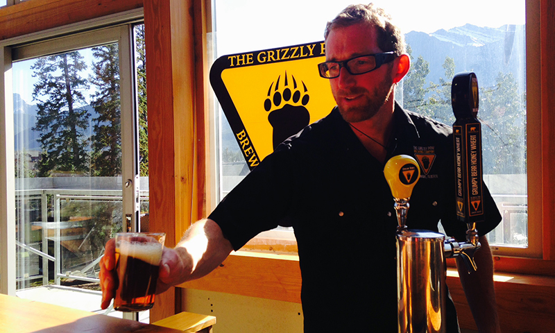 At Grizzly Paw Brewery, Canmore, AB