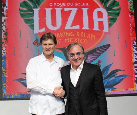 Enrique de La Madrid Cordero, Secretary of Tourism, Mexico; Cirque du Soleil CEO Daniel Lamarre