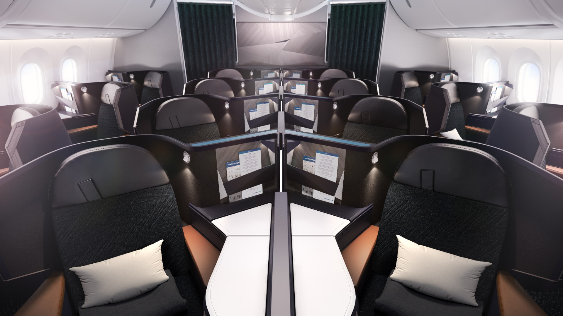 WestJet's new Dreamliner Business cabin features all-aisle-access and lie-flat seats. Photo: WestJet