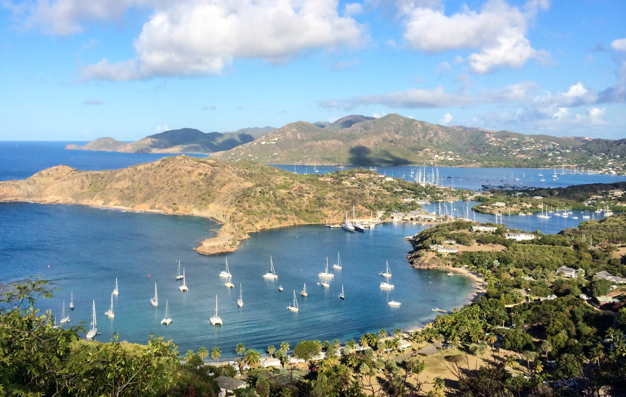 English Harbour Antigua as viewed from Shirley Heights. Photo courtesy of Antigua and Barbuda Tourism Authority.