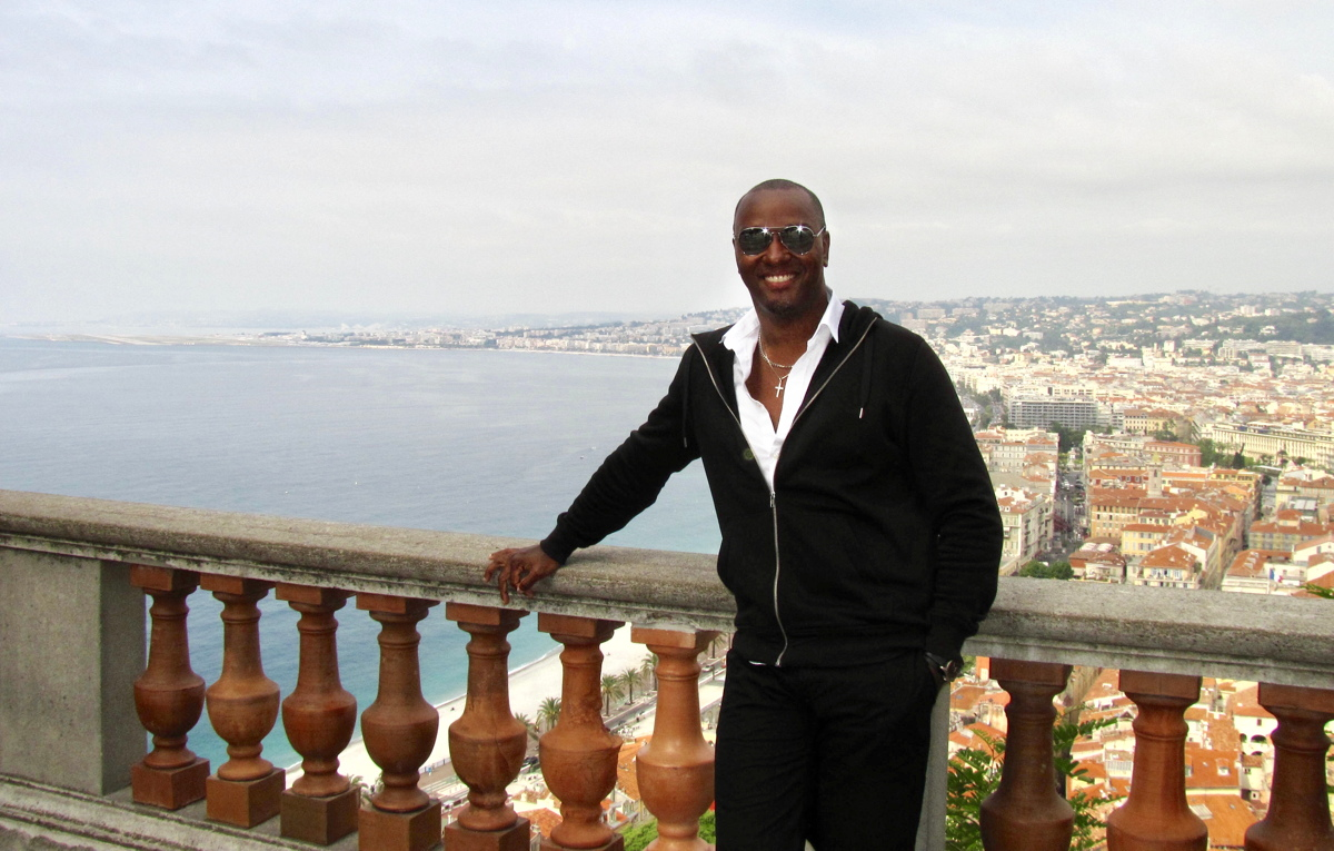 """[Travel] is something you can't hold,"" says Brian Joseph, seen here in Nice, France. ""It's like liquid or gas. It changes. Every day, every year is a different experience."""