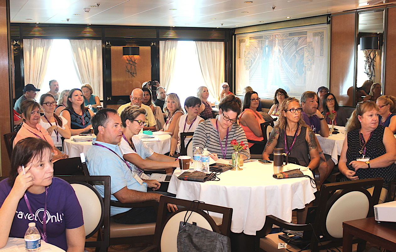 CLASS IS IN SESSION. Home-based travel pros built their business plan last week at TravelOnly's Symposium at Sea.