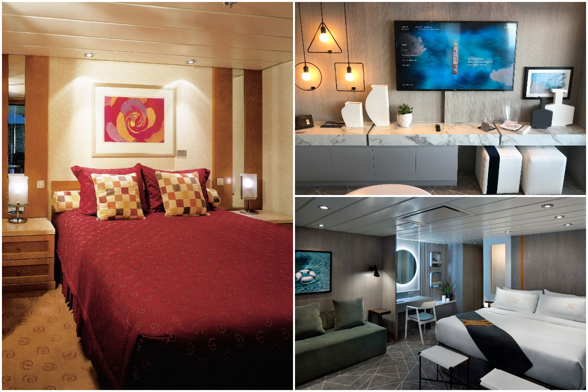 BEFORE & AFTER. Left, a pre-revolution room on Summit. Right, two of Kelly Hoppen's revolutionized suites. Photo (left, bottom right): Celebrity Cruises