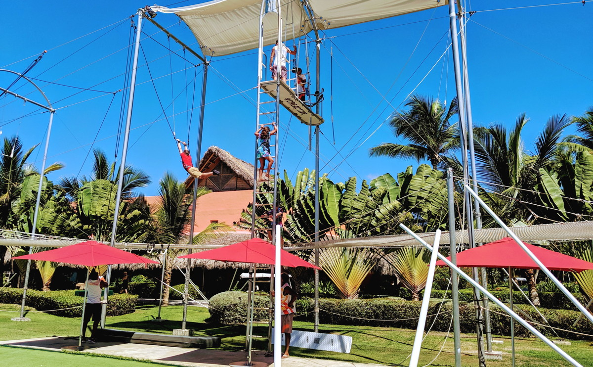 HIGH-FLYING FUN. The trapeze course at the CREACTIVE by Cirque du Soleil space at Club Med Punta Cana.