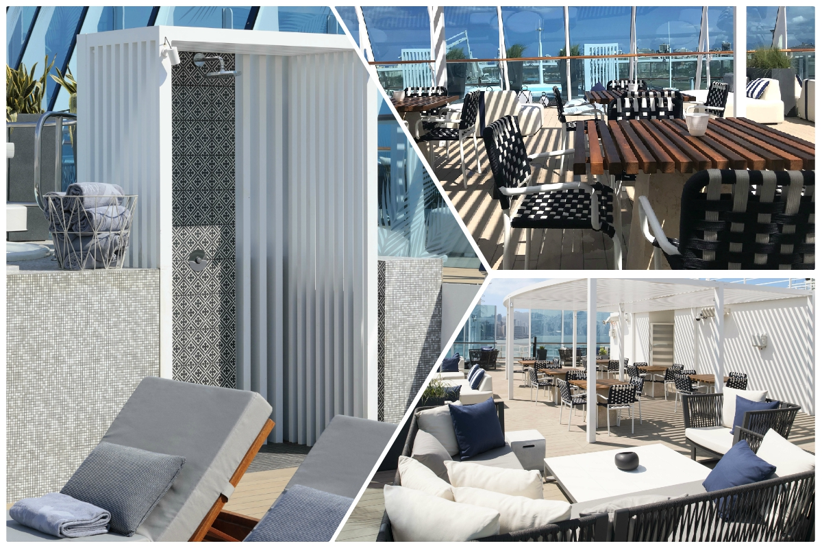 RELAX. A look at Celebrity Summit's new Retreat Sundeck for suite guests. It was also designed by Kelly Hoppen. Photos (left, bottom right): Celebrity Cruises