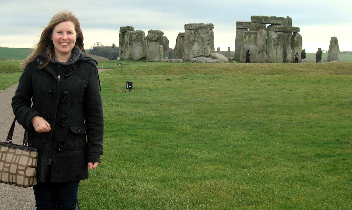 """The travel industry is like my second family,"" says Erz, seen here at Stonehenge in the U.K. Photo courtesy of Kristin Erz."