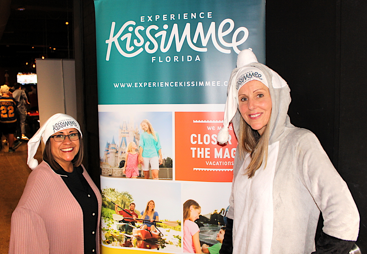 GRAB YOUR PJs. From left: Edith Rocio Ferguson, sales manager, N.A., Experience Kissimmee; Denise Graham, account manager, Experience Kissimmee c/o VoX International.