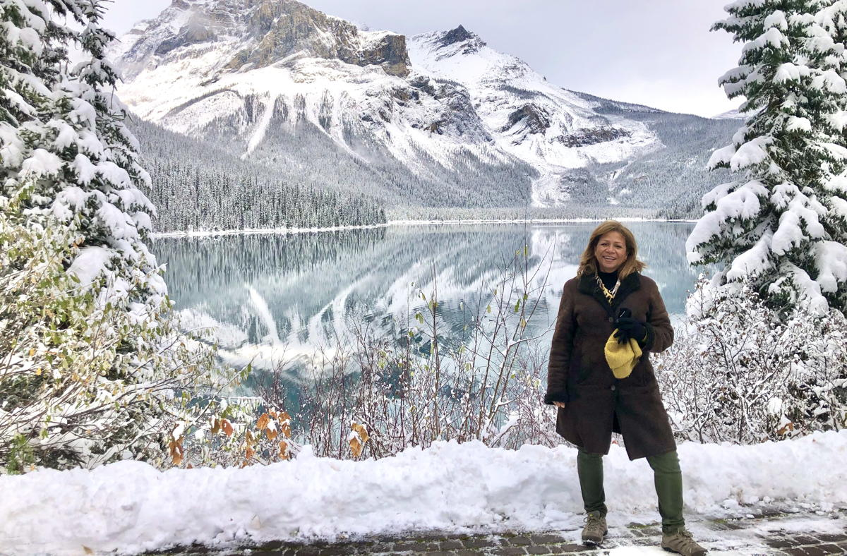 Stéphanie Bishop, managing director for the Globus family of brands, in front of Emerald Lake. (Supplied)