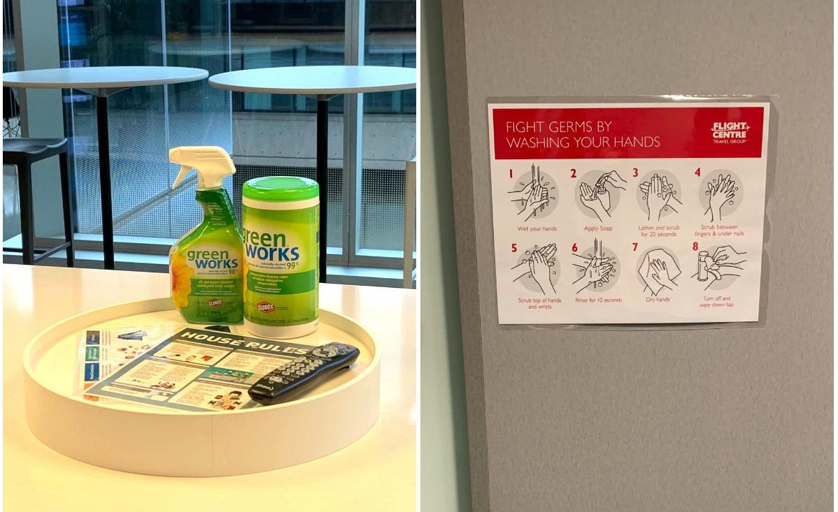 KEEPING CLEAN. Cleaning & sanitization products on full display at Flight Centre's Vancouver headquarters (left); right, signage on the doors promote proper handwashing. (Supplied)