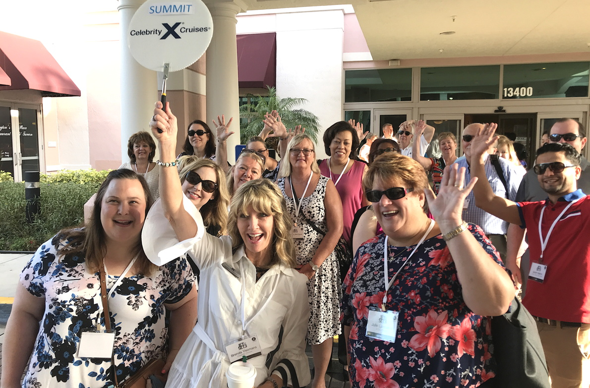 Brenda Lynne Yeomans, seen here taking travel agents on a Celebrity ship tour recently in Fort Lauderdale, Florida.
