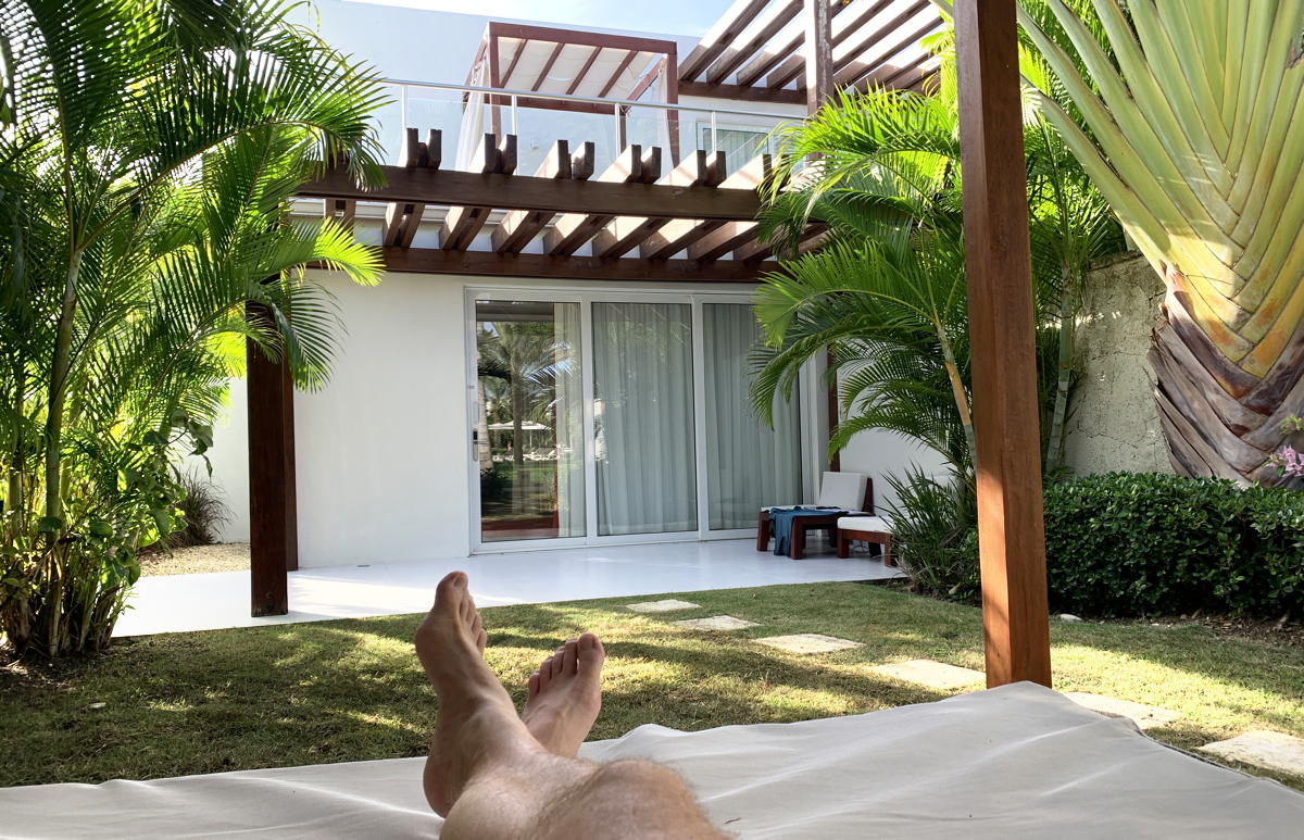 Accommodations with front lawns in the adults-only Zen Oasis section of Club Med Punta Cana.