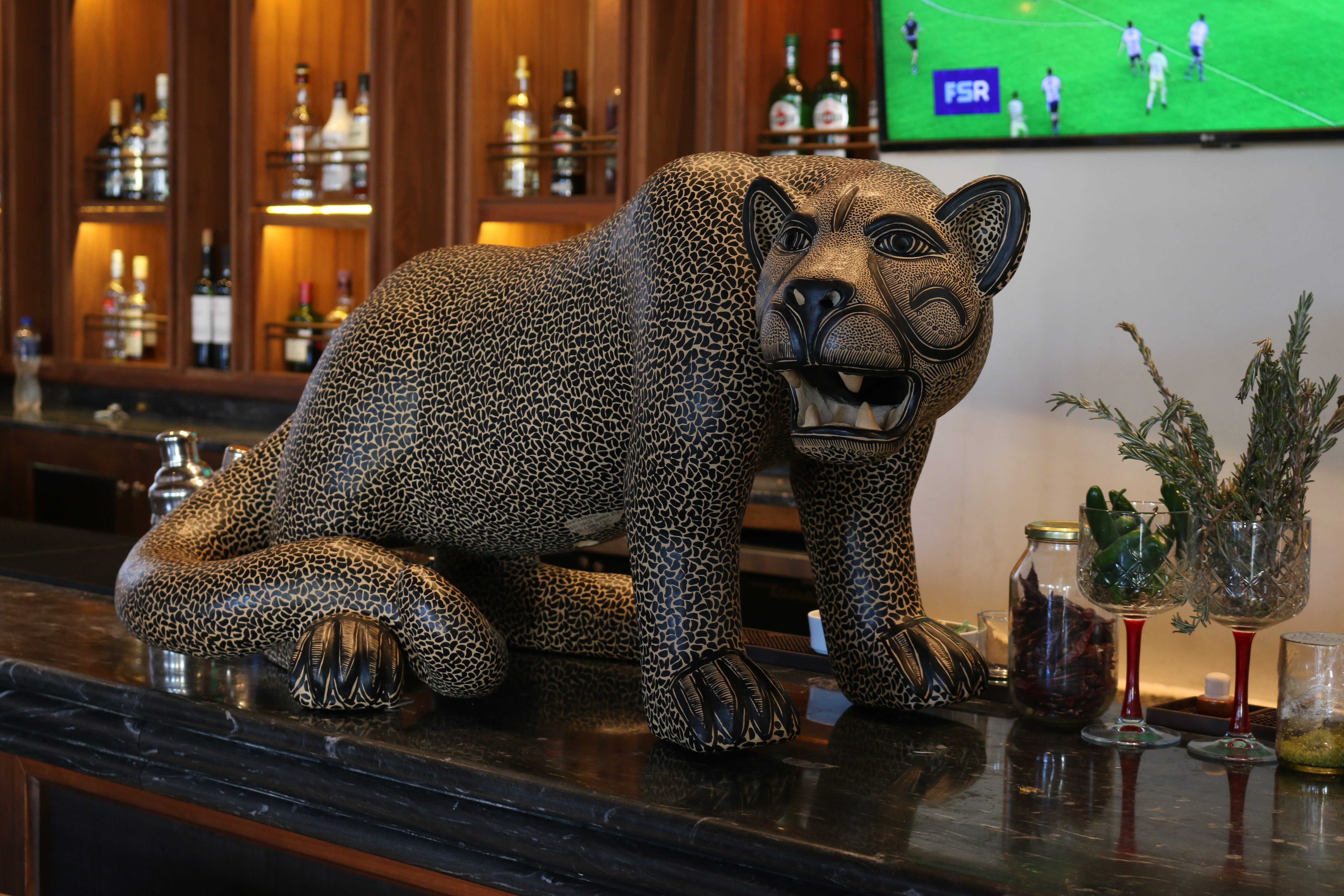 Balam means jaguar in Mayan, hence this gorgeous sculpture of the animal that rests on the bar counter.