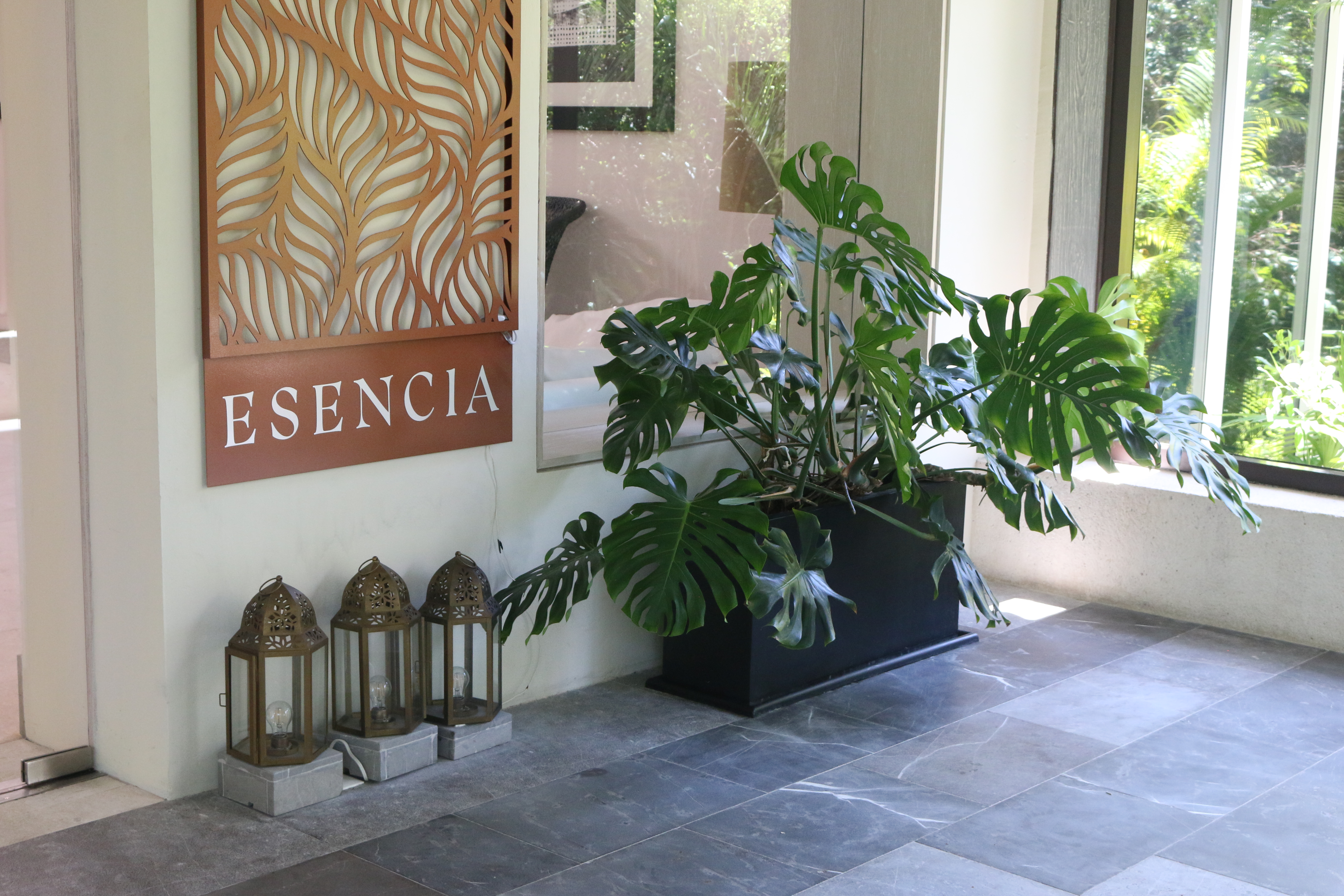 Entrance to Esencia Wellness Spa, where guests can enjoy all-inclusive spa treatments.