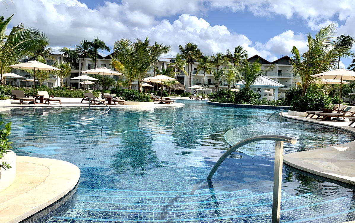 Poolside at the main family pool at Hilton La Romana All-Inclusive Family Resort.