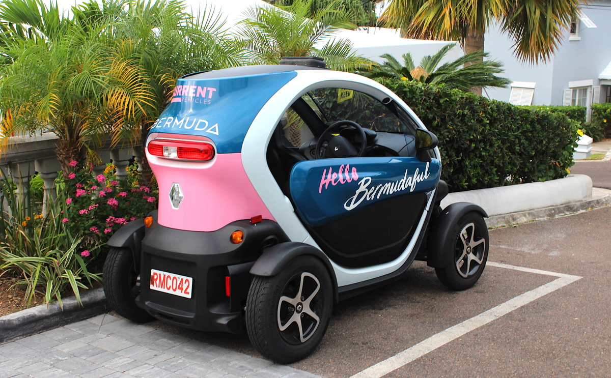BEEP, BEEP. The Twizy is a two-seat electric car that visitors can rent during their stay in Bermuda.