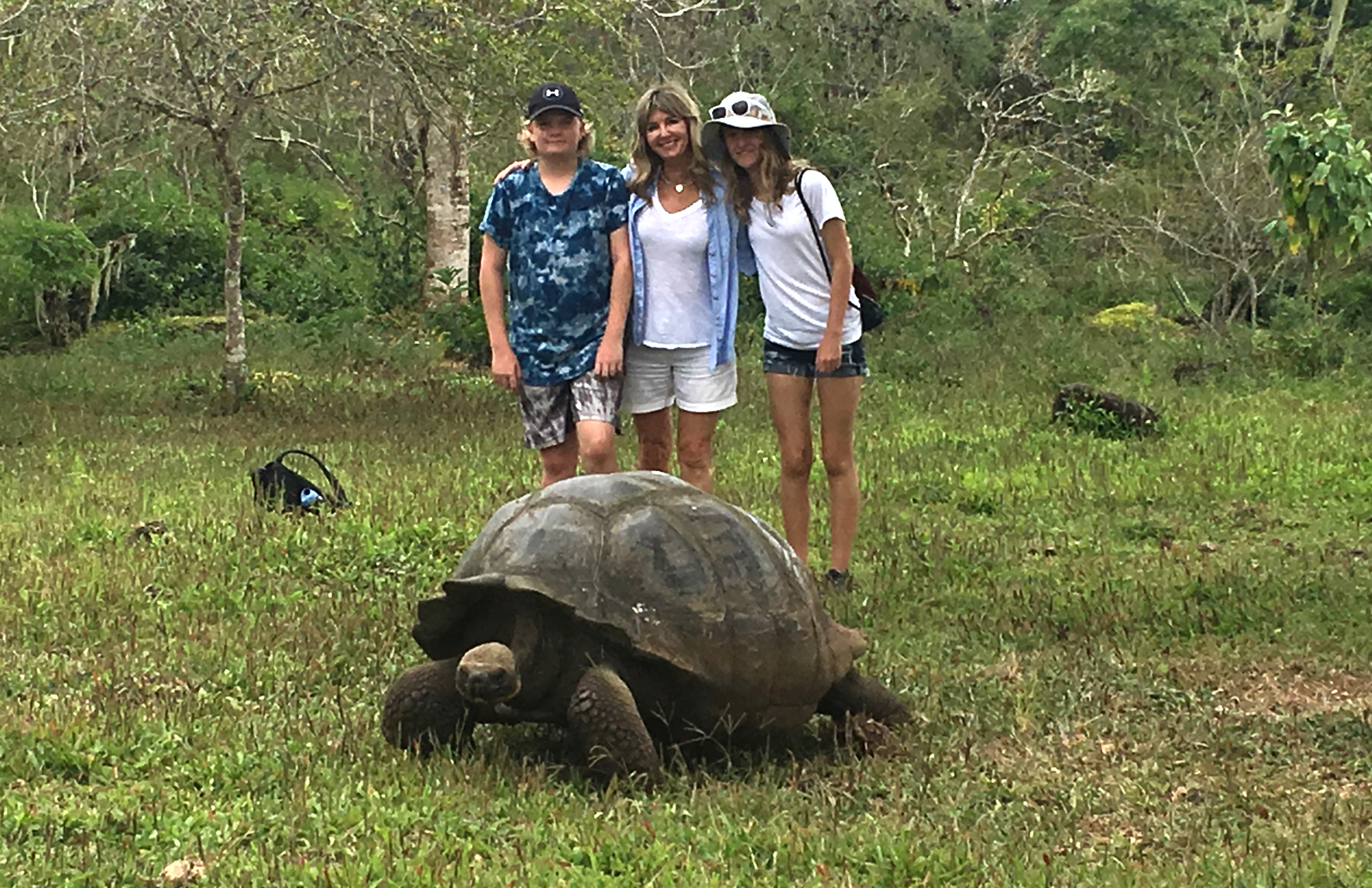 TURTLE POWER. Yeomans and her children visit the Galapagos Islands. Photo courtesy of Brenda Lynne Yeomans.