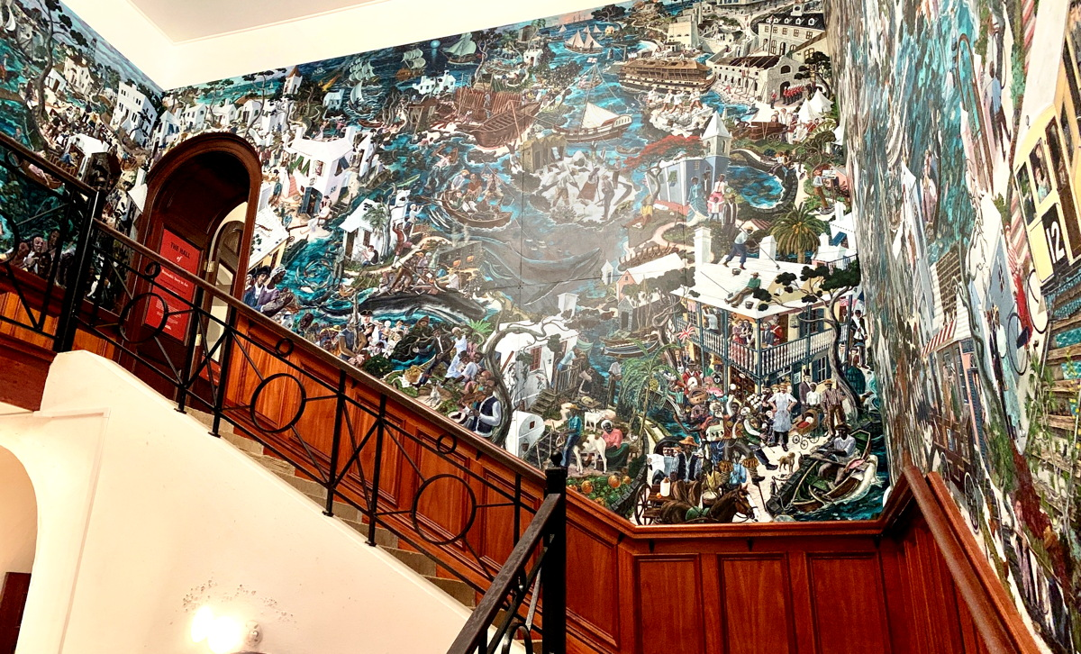 HISTORY IN ART. Artist Graham Foster's 1,000-square-foot mural portrays 500 years of Bermuda's history.