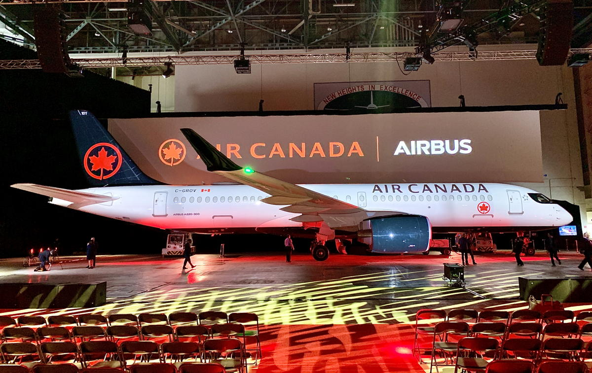 MADE TO FLY. Air Canada's first Airbus A220-300 was unveiled at a ceremony Wednesday at Air Canada headquarters in Montreal.