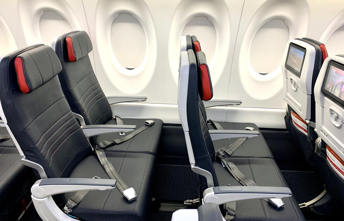 WIDTH & COMFORT. The A220's seats in Economy measure 19 inches in width, which is the widest in Air Canada's fleet.