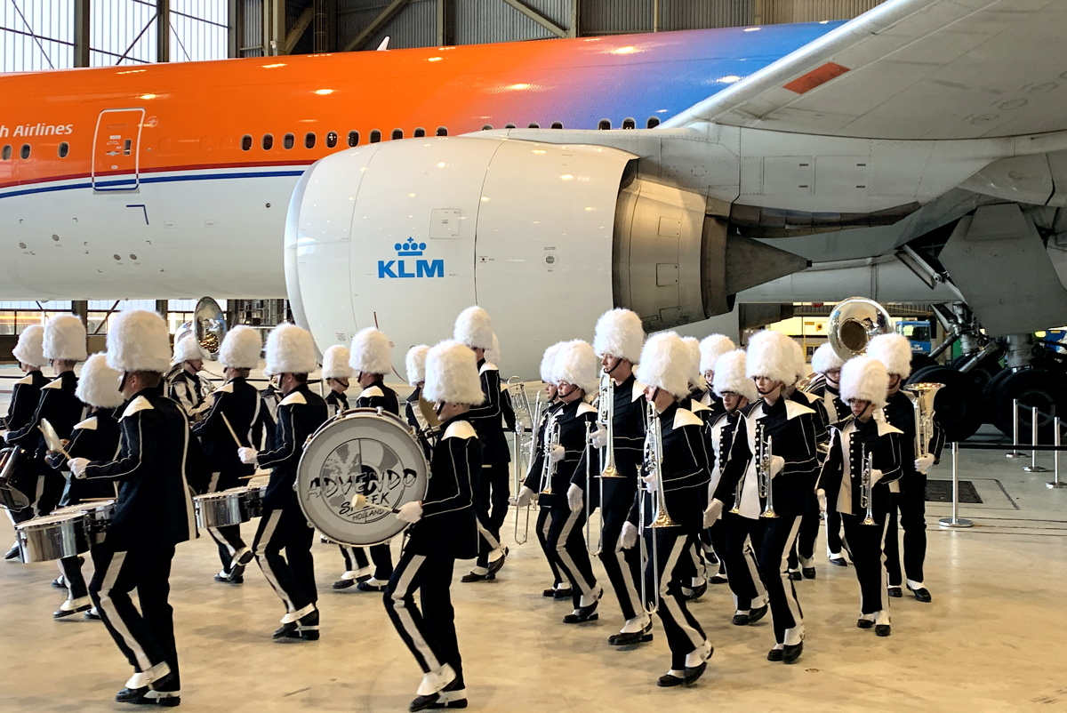 A marching band kicked off KLM's ceremony in Hangar 12 at Schiphol Airport.
