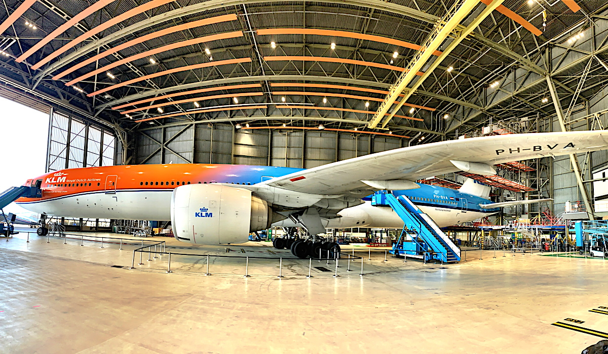 KLM's 777 joined in on the festivities last week in Hangar 12 at Schiphol Airport in Amsterdam.