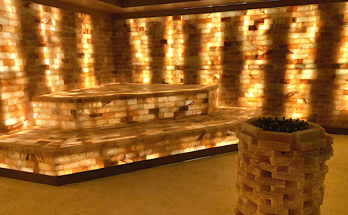 Inside the Himalayan Salt Lounge at Larimar Spa at Hyatt Ziva and Hyatt Zilara Cap Cana.