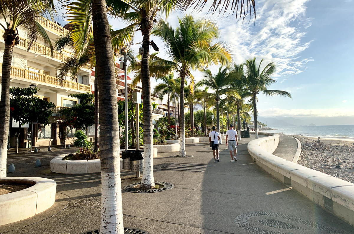 Puerto Vallarta's Malecón, a famous beachside promenade, is just 10-15 minutes away.