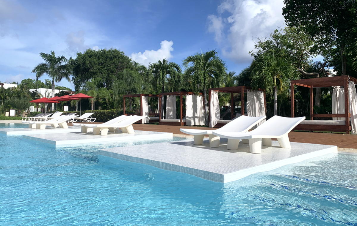 Poolside at the Zen Lagoon pool in the adults-only Zen Oasis section at Club Med Punta Cana.