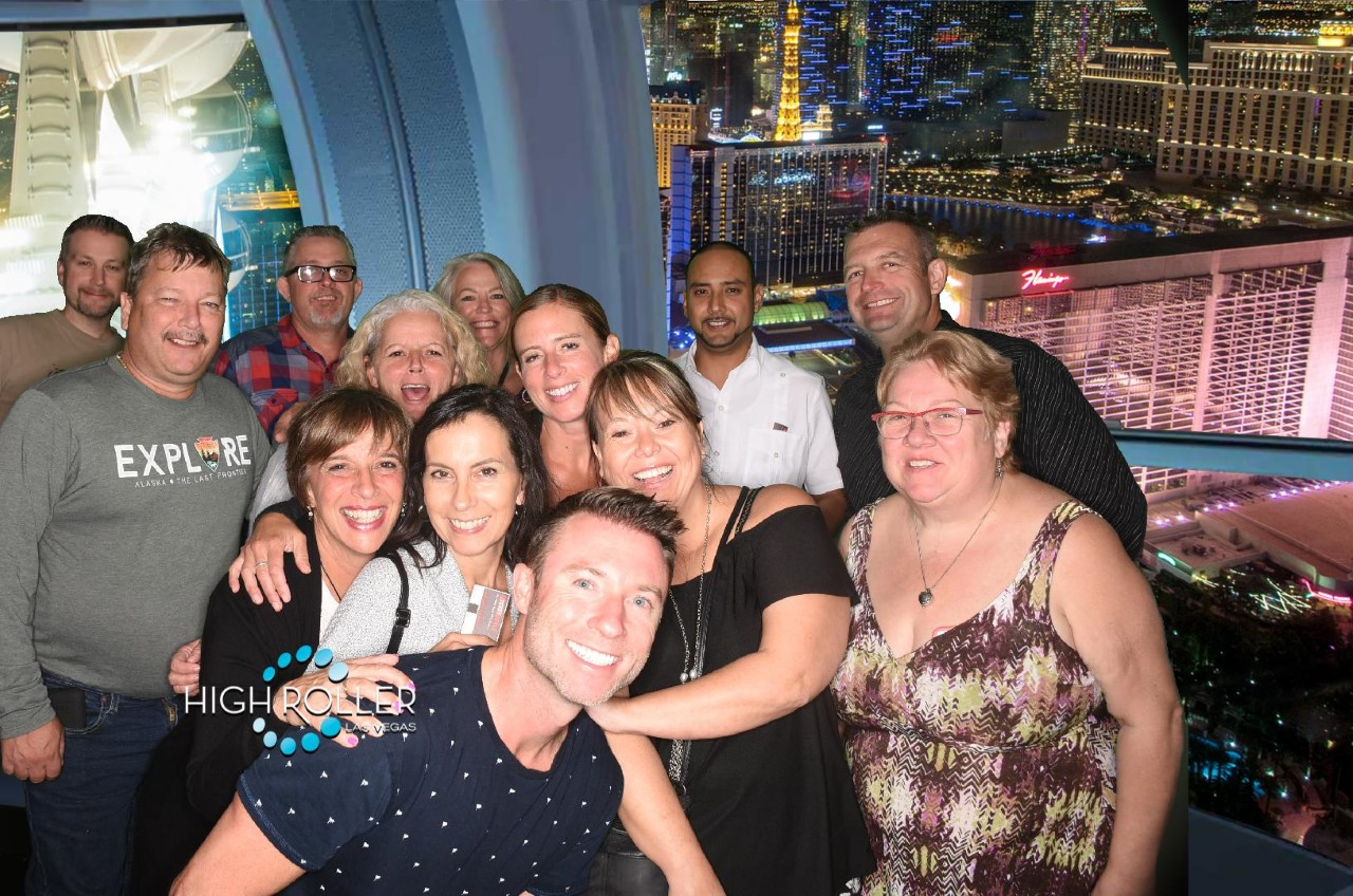 FAM TRIP. TravelOnly's Ian Elliott (centre) guides TravelOnly advisors through Las Vegas on a post-conference FAM trip.