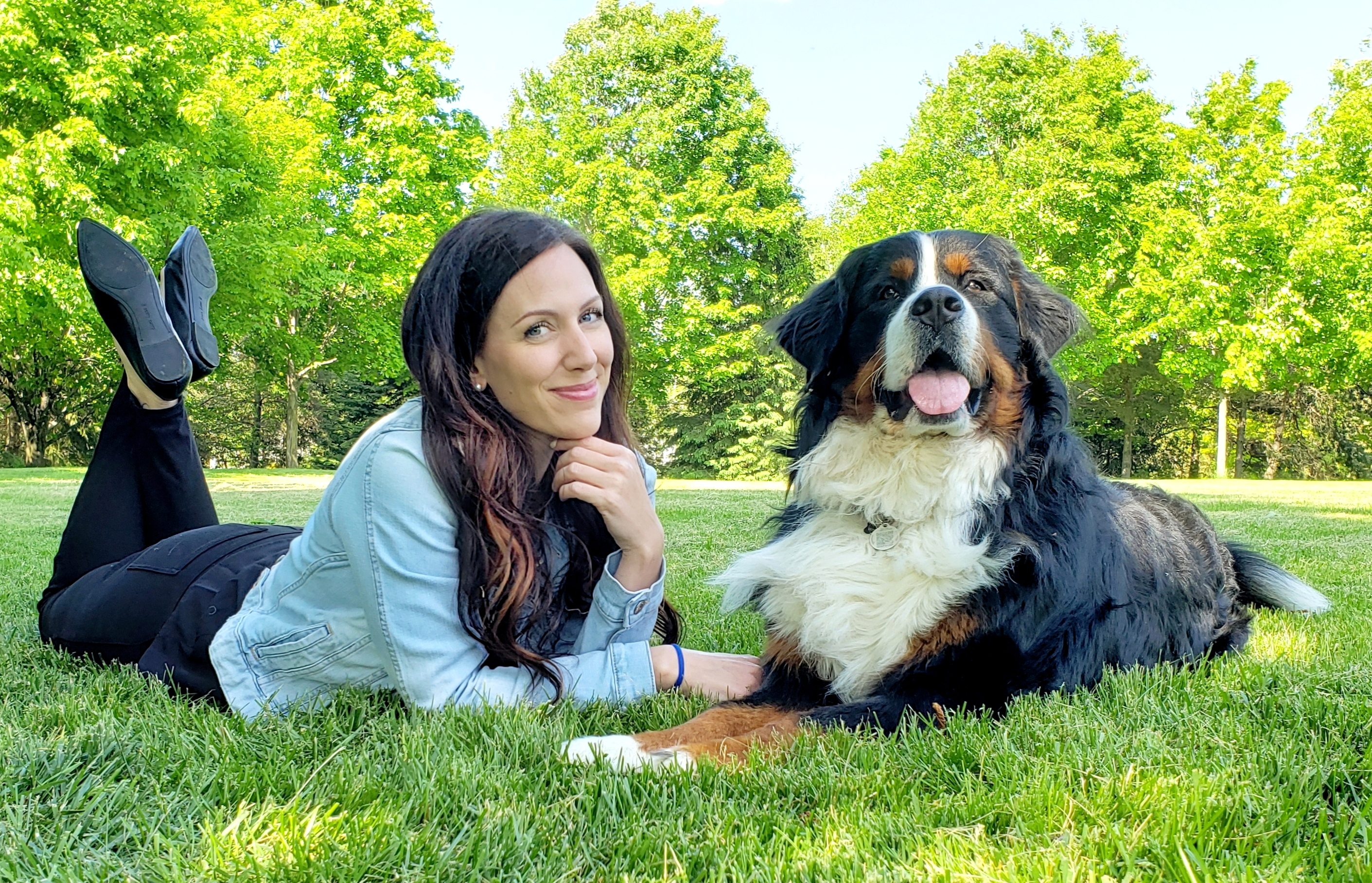 PAW PATROL. Cardona is a huge dog lover. Here, she poses with her family's Bernese mountain dog, Eiger. Photo courtesy of Krista Cardona.