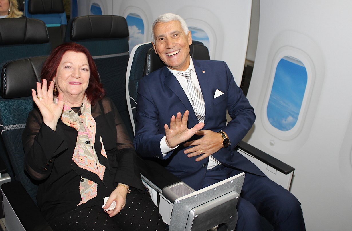 TravelOnly's Ann and Patrick Luciani gave WestJet's new Dreamliner seats a test run at The Carlu last night.