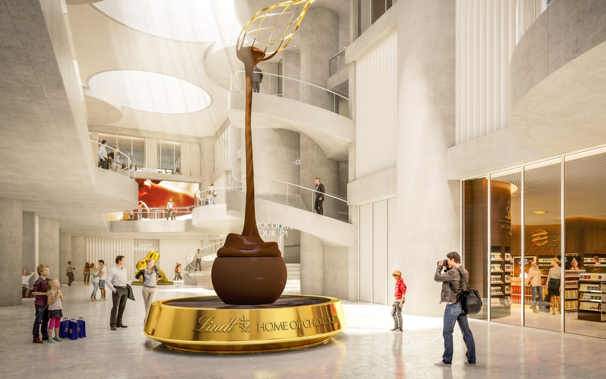 SWISS BLISS. An eight-metre-high chocolate fountain awaits at Lindt's upcoming Home of Chocolate.