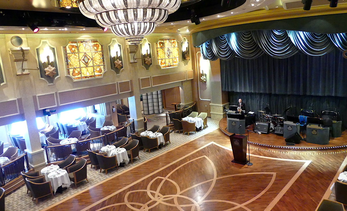 With double height ceiling, art deco windows and chandeliers, the Queens Room ballroom is the venue of many gala balls.