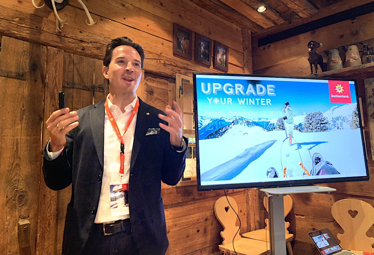 UPGRADING WINTER. Pascal Prinz, director of Switzerland Tourism in Canada, put the spotlight on St. Moritz at Tuesday's presentation.