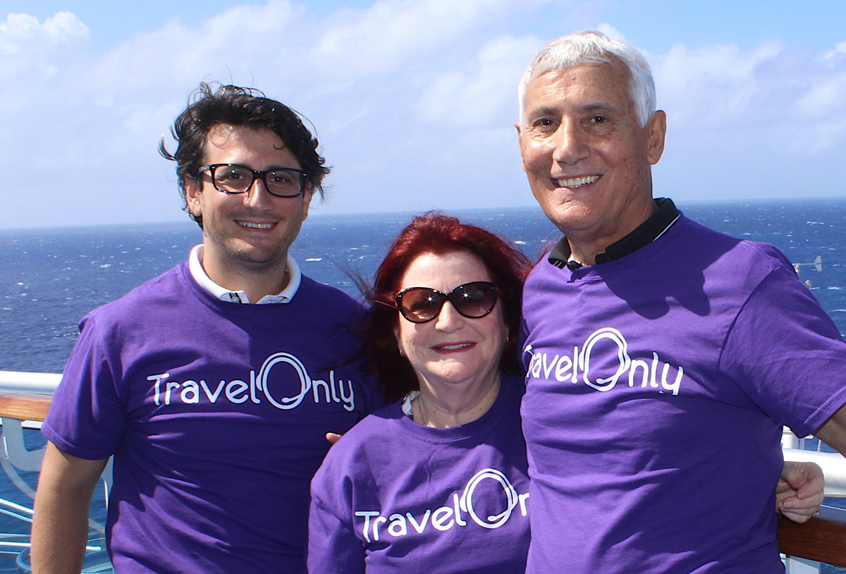 STRONG FAMILY TIES. From left (of TravelOnly): Gregory Luciani, president & CEO; Ann Luciani, CFO; Patrick Luciani, founder and chairman