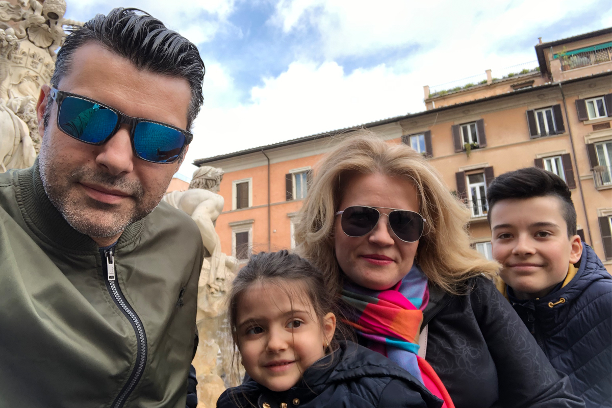 Rares and his family on vacation in Italy.