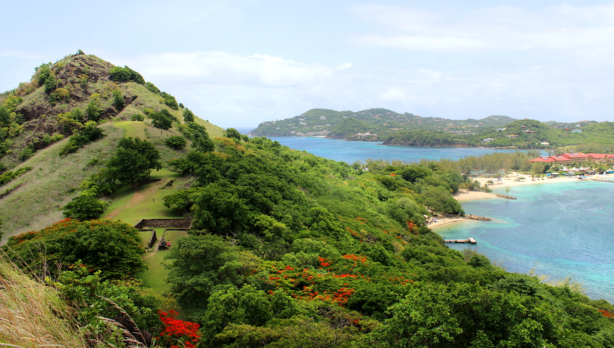 NATURE HIKE. View of Saint Lucia from the top of Pigeon Island National Park.