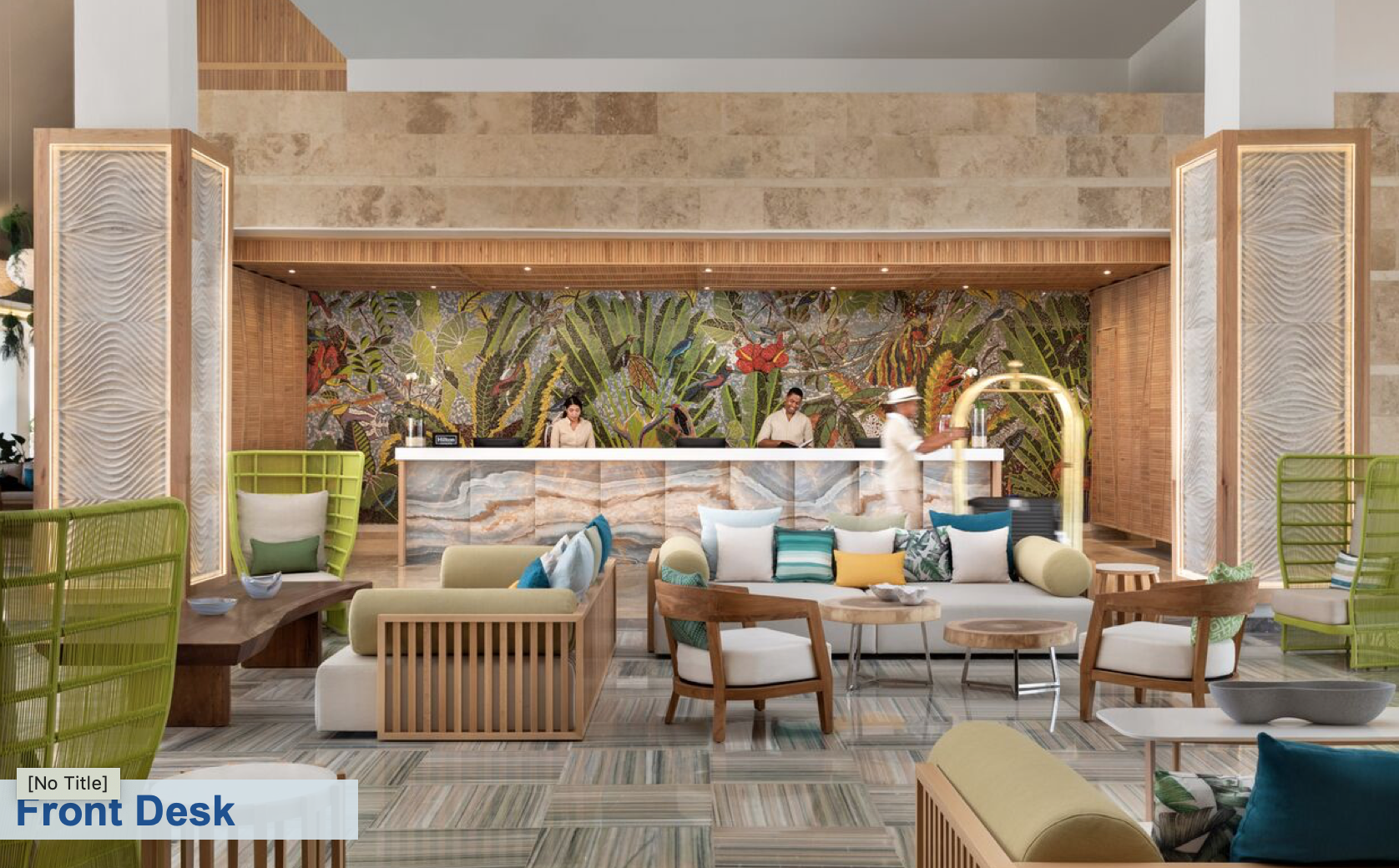 WELCOME. The front desk reception at the newly-renovated Hilton La Romana Adults Only. Photo: Playa Hotels and Resorts