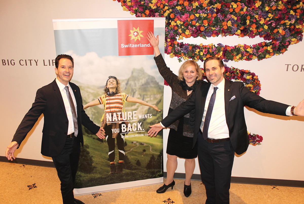 From left: Pascal Prinz, director Canada & trade manager for Central USA; Ursula Beamish-Mader, manager of media relations for N.A.; Martin Nydegger, CEO of Switzerland Tourism.