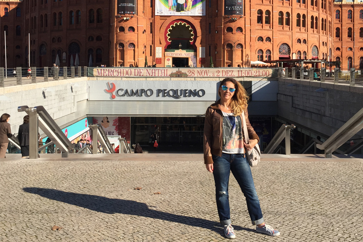 Simona pictured here at the iconic Campo Pequeno in Lisbon, Portugal.