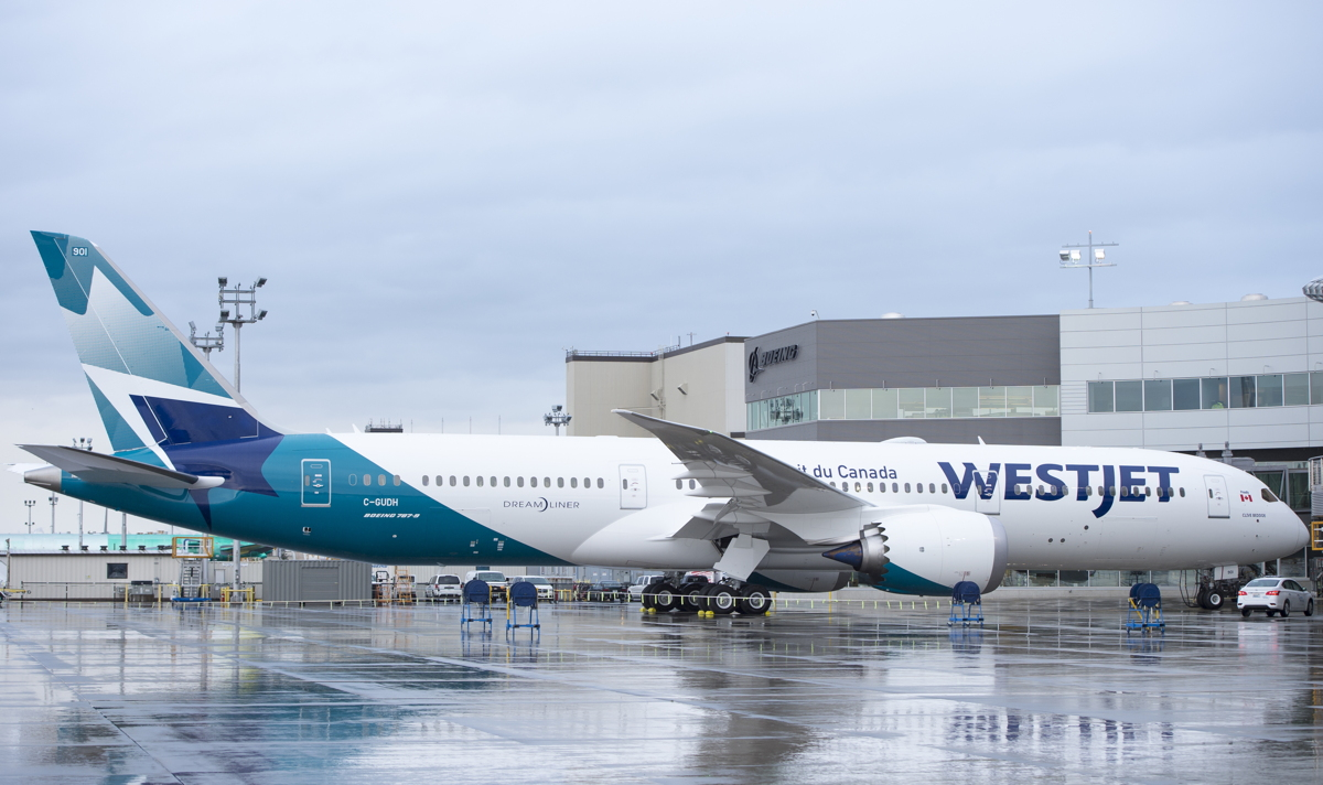 Meet WestJet's first Boeing 787-9 Dreamliner, which will start domestic flights from YYC to YYZ on Feb. 20th. Photo courtesy of Boeing.