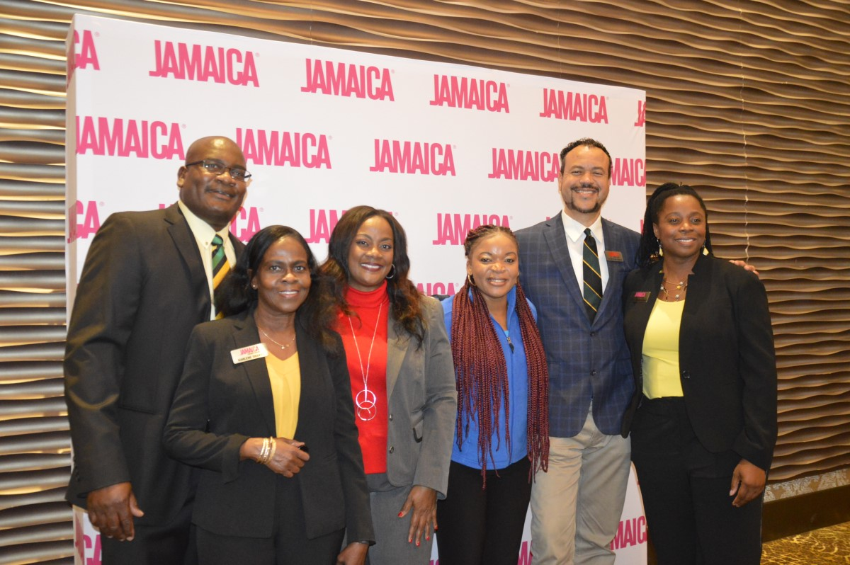 Of the Jamaica Tourist Board: Dan Hamilton, district sales manager; Karlene Shakes, national sales manager; Angella Bennett, regional director – Canada; Judy Nash, office manager; Christopher Dobson, district sales manager, Midwest U.S.; Racquel Queensborough, business development manager.