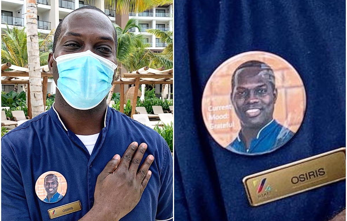 The team at Hyatt Ziva and Hyatt Zilara in Cap Cana wear buttons that display their faces.