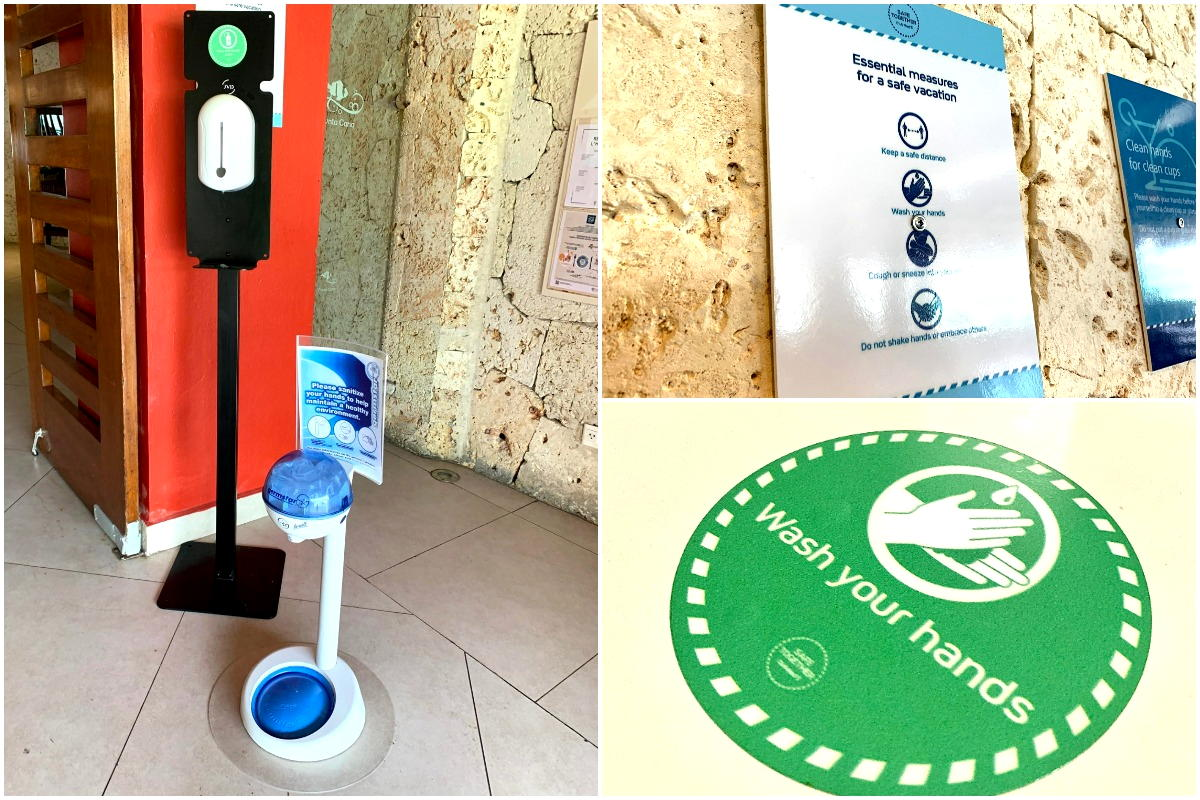 Hand sanitizing stations for both adults & kids (left); signs & stickers advising healthy hygiene (right)