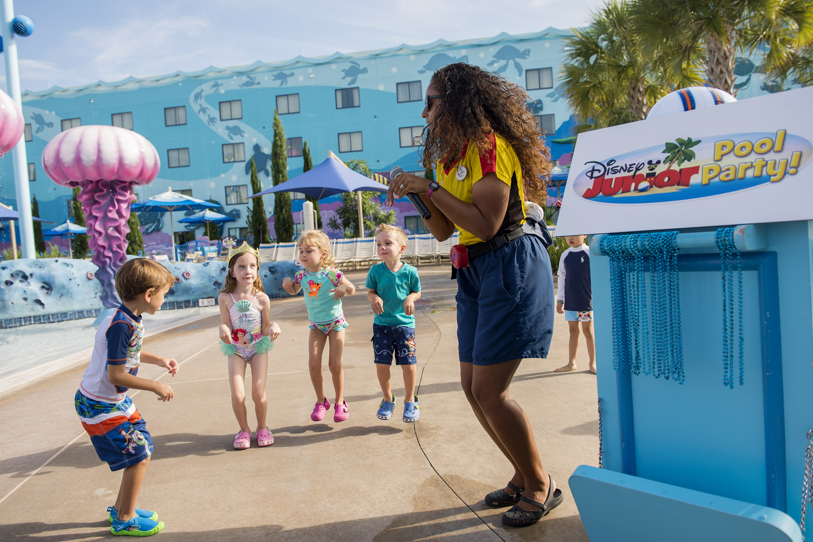 Several hotels at Walt Disney World offer Disney Pool Parties to their younger guests.