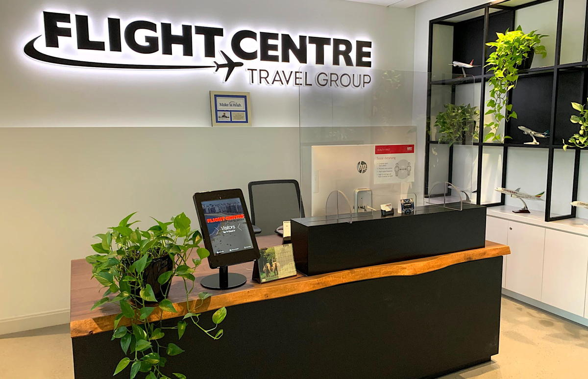 Flight Centre's Vancouver Head office now has Plexiglass at front reception. (Supplied)