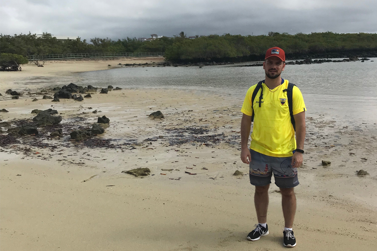 """ My favorite thing about my job is the product that I represent,"" says Nick, seen here in the Galapagos."