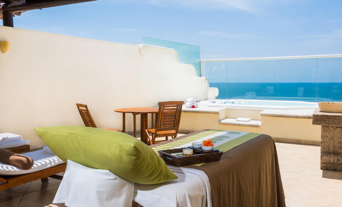 The two-storey Wellness suites at Grand Velas Riviera Nayarit include a private terrace with jacuzzi & massage beds (Velas Resorts)