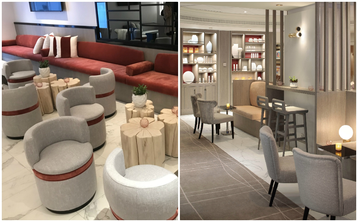 The Celebrity Summit's new Retreat Lounge (above) was conceptualized by designer Kelly Hoppen. Photo (right): Celebrity Cruises